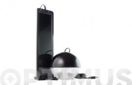 KIT SOLAR RECARGABLE CON LAMPARA 3 LEDS NEGRO