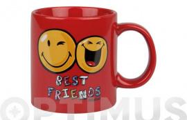 MUG CERAMICA SMILEY 330 ML BEST FRIENDS-ROJO