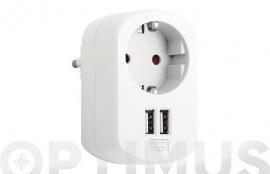 ADAPTADOR CON DOBLE USB 3.15A BLANCO