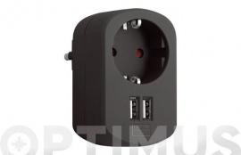 ADAPTADOR CON DOBLE USB 3.15A NEGRO