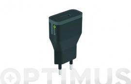 CARGADOR/TRANSFORMADOR USB 2,4A NEGRO