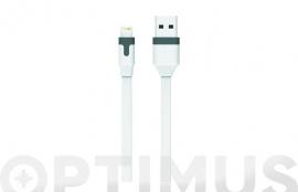 CABLE CARGADOR USB-LIGHTNING APPLE MFI 2,4A 1M BLANCO