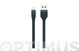 CABLE CARGADOR USB-LIGHTNING APPLE MFI 2,4A 1M NEGRO