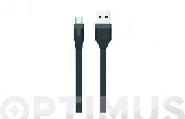 CABLE CARGADOR USB-MICRO USB 2,4A 1M NEGRO