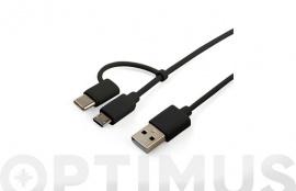 CABLE CARGADOR USB-MICRO USB/TIPO C  2,1A 1M NEGRO