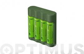 CARGADOR PILAS USB AA-AAA INCLUYE 4 PILAS AA 2100MAH