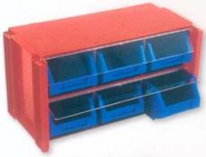CLASIFICADOR APILABLE PLASTICO 6 GAVETAS NEGRO/ROJO 170X360X190 MM